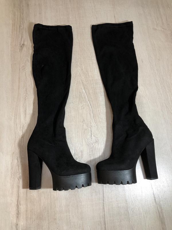 8b90f9a30 Сапоги-чулок, ботфорты на каблуке, цена - 700 грн, #17327087, купить ...