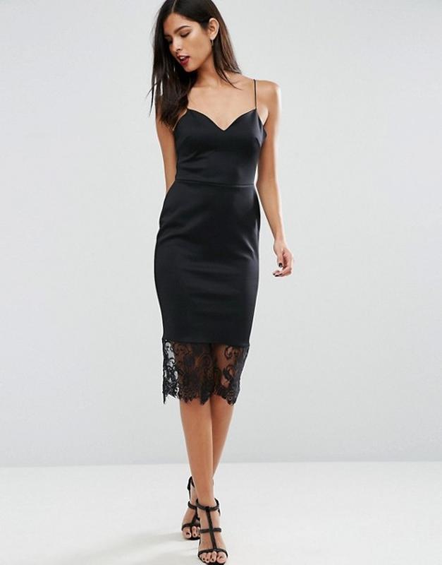 41b6b355ccf52 Эксклюзивное платье миди карндаш с кружевом на бретелях asos1 фото ...