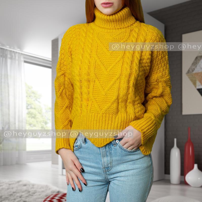 свитер шерстяной вязаный объемный желтый с крупной вязкой оверсайз