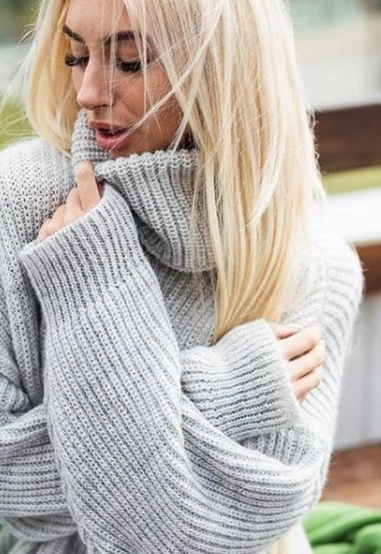 теплый объемный вязаный свитер оверсайз Oversize крупная вязка