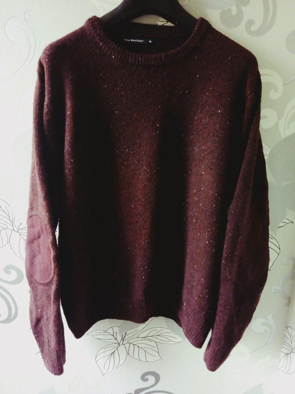 бордовый марсала вязаный свитер с заплатками Cedarwood State кофта