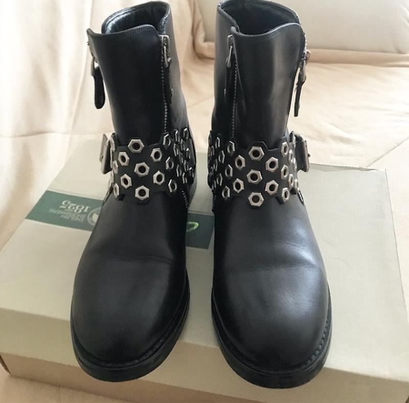 8d0b73c3274c Ботинки miraton, кожаные сапоги, байкерские заклепки, широкое голенище1 ...