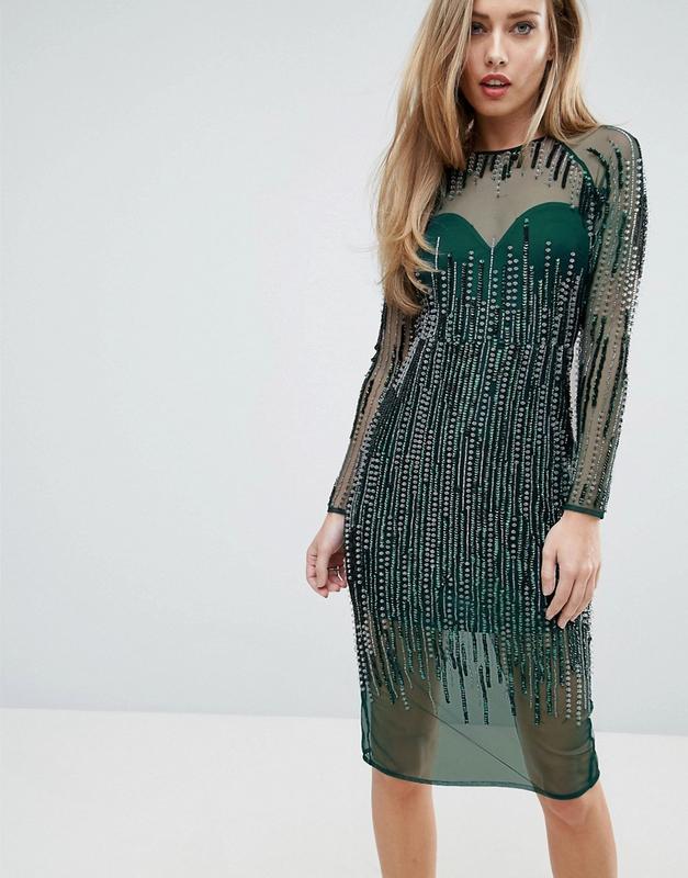 Asos розкішна зелена сукня в паєтках та бісері доставка сутки ASOS ... f21ab6697ef76