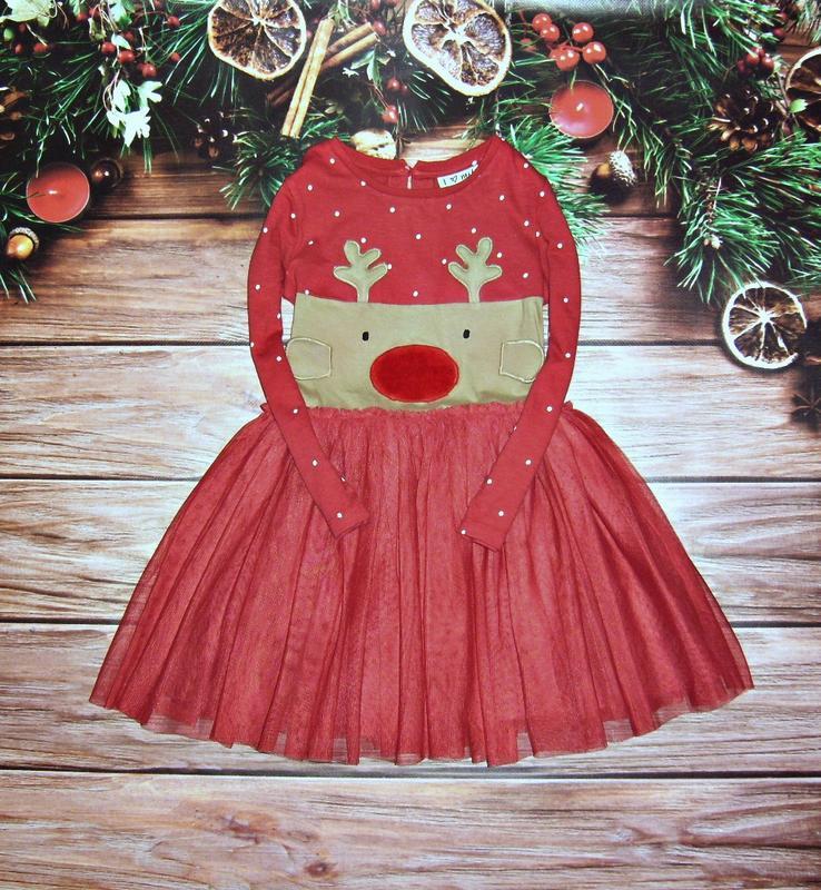 91225b909df Продам новогоднее платье некст next с оленем 2 3 4 г.1 фото