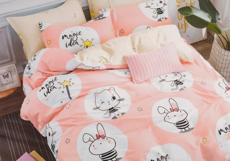 Подростковое полуторное постельное белье viluta сатин 221 зайки и котики  розовый1 ... 2232a6c9038a6