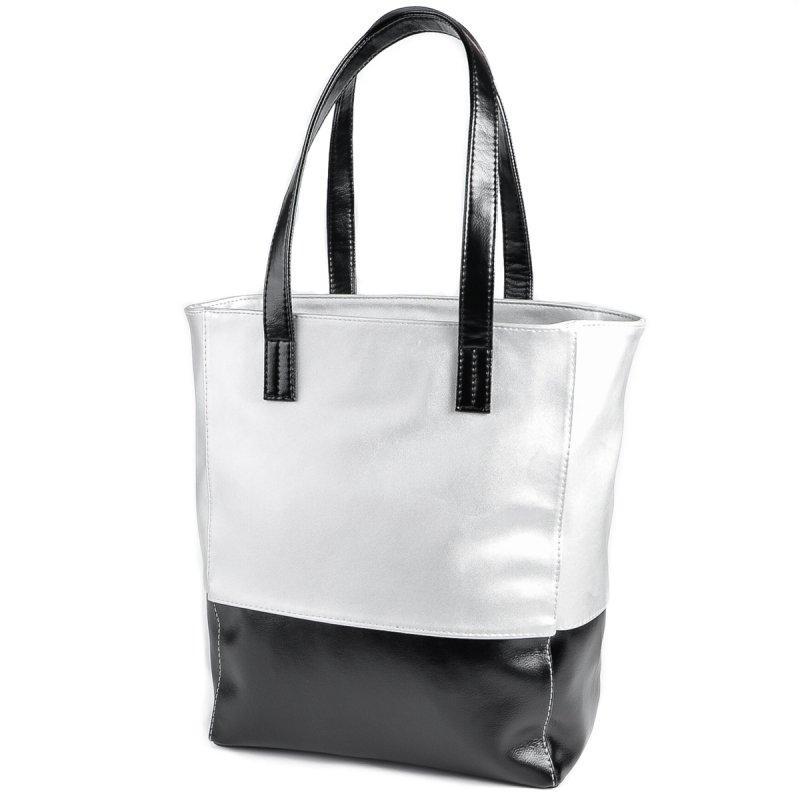 ca2568ccbf27 Серебристая вертикальная сумка шоппер на плечо с черными вставками1 ...