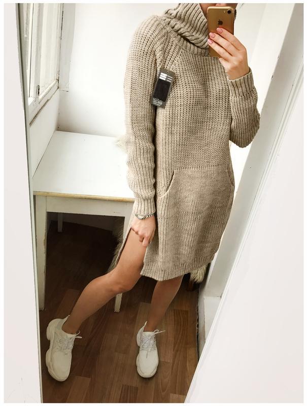 426fa0d5fd9 Объемное бежевое вязаное платье - свитер с разрезами и худи - карманом1  фото ...