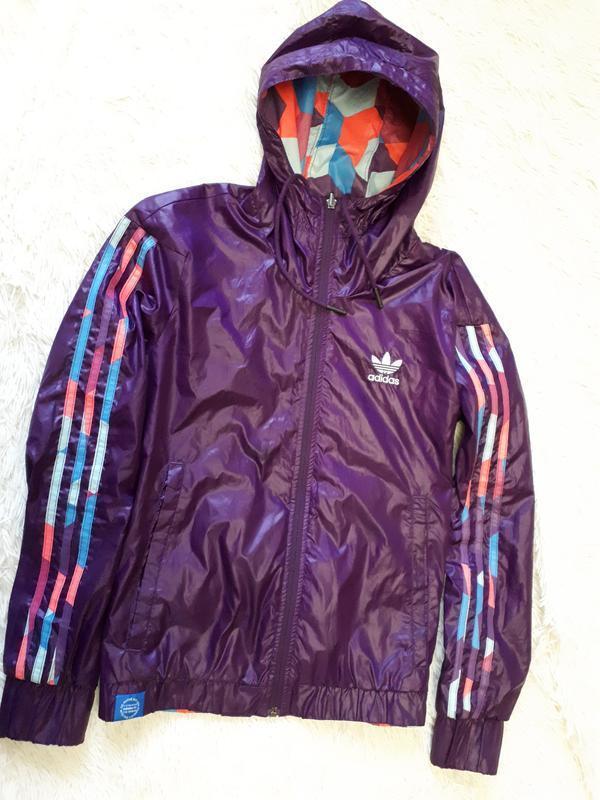 79dbac5aa0ff Двухсторонняя спортивная женская куртка ветровка adidas оригинал   р.м-38 филиппины1 ...