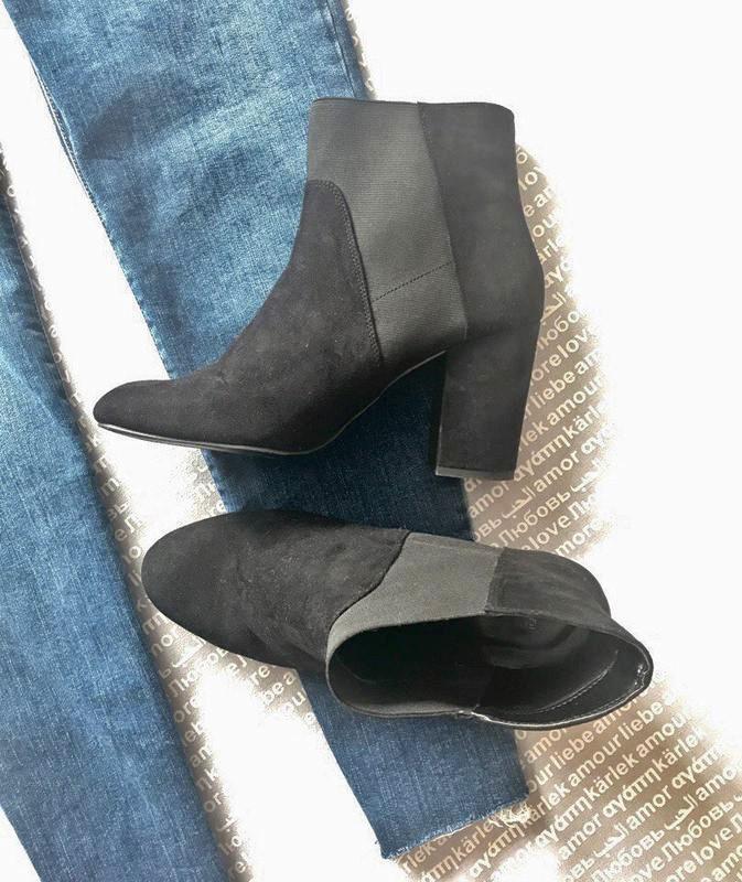 ботильоны сапоги челси ботинки черные New Look толстый каблук эко замша купить цена New Look за 500 грн