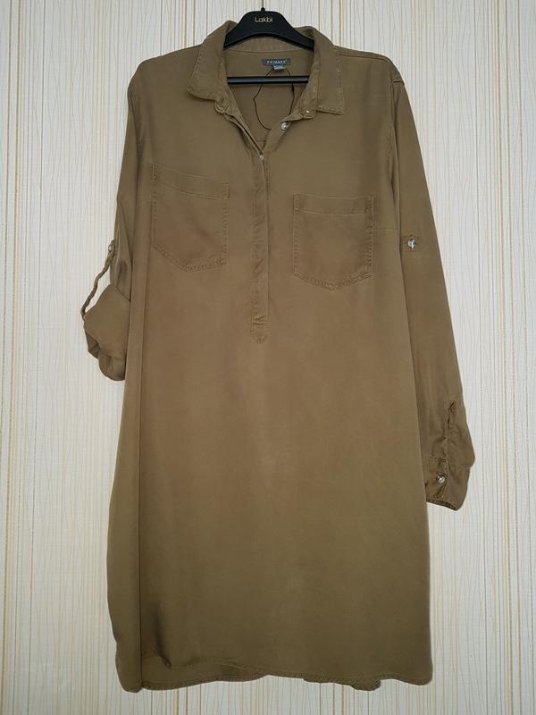 47f14a92c7c Трендовое платье-рубашка из лиоцелла цвета хаки1 фото ...