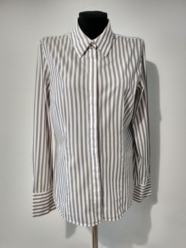 e5bd59d51de Стильная белая рубашка в серую полоску1 ...