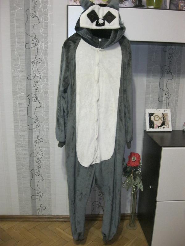 Кошка шиншилла лемур слип кигуруми пижама с молнией сзади лыжный комбинезон  л1 ... c2bf4693725b4