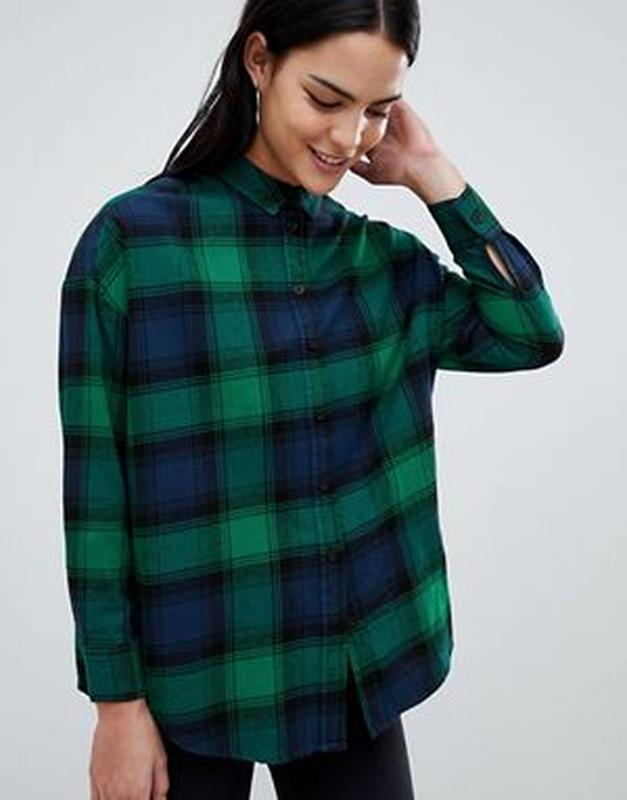 545a2ee1b59 Женская темно-зеленая рубашка в клетку от forever 21 Forever 21 ...