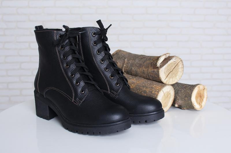 07843920 Классные зимние женские кожаные ботинки черные широкий каблук шнуровка  молния 36-41р1 фото ...
