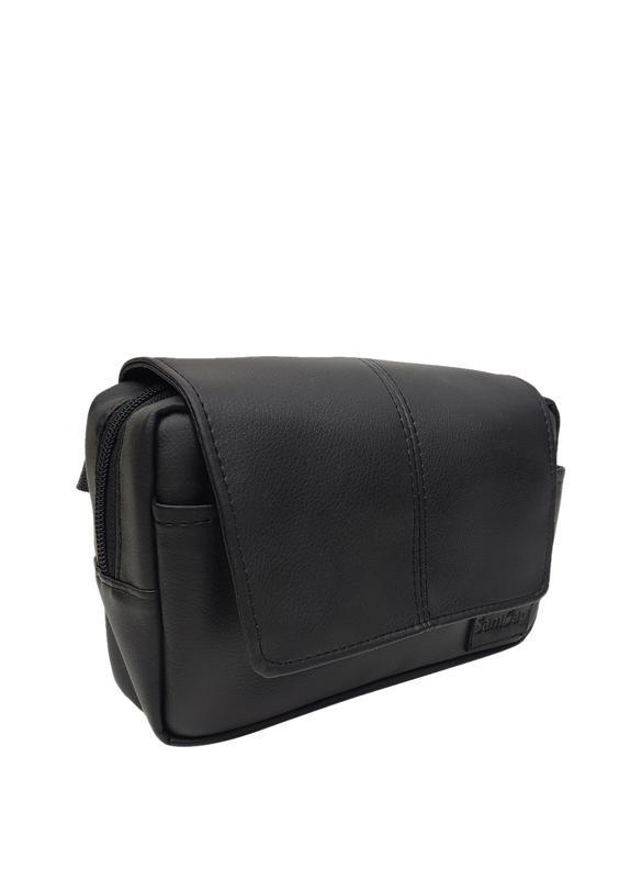 52d472a04703 Женская сумка на пояс бананка (планшетка) чёрная с экокожи Sambag ...