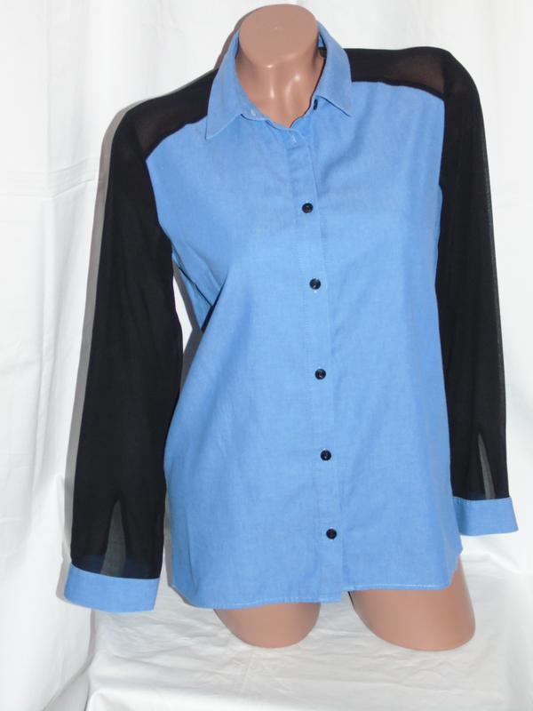 b9ae1d1076c H   m шикарная комбинированная джинсовая рубашка - s - m1 фото ...