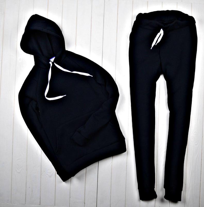 a90f66e7 Женский спортивный костюм зимний на флисе черный, цена - 890 грн ...