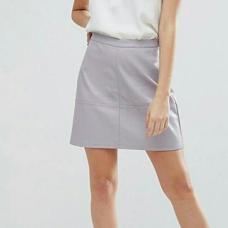 4eef28e64633 Серая кожаная юбка new look (New Look) за 200 грн.   Шафа