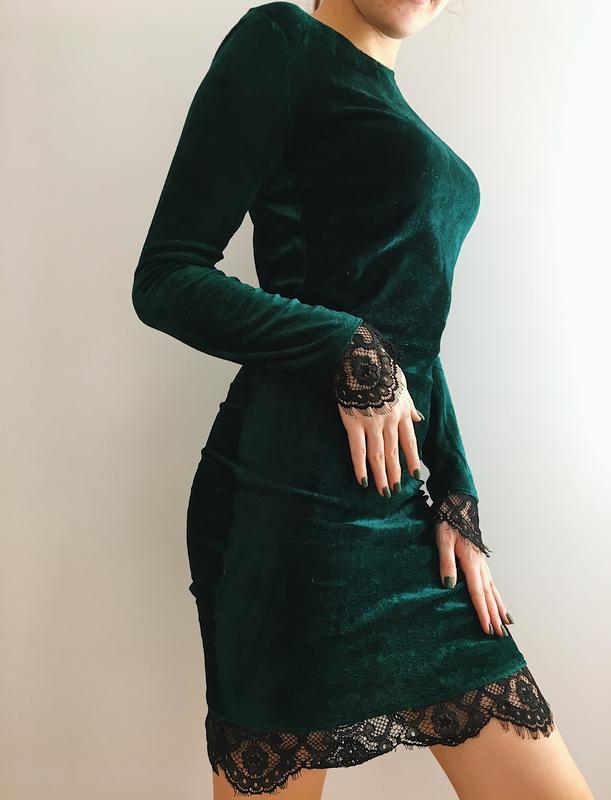 a418b296cdd0099 Платье велюр с кружевом изумрудного цвета, цена - 249 грн, #18104057 ...