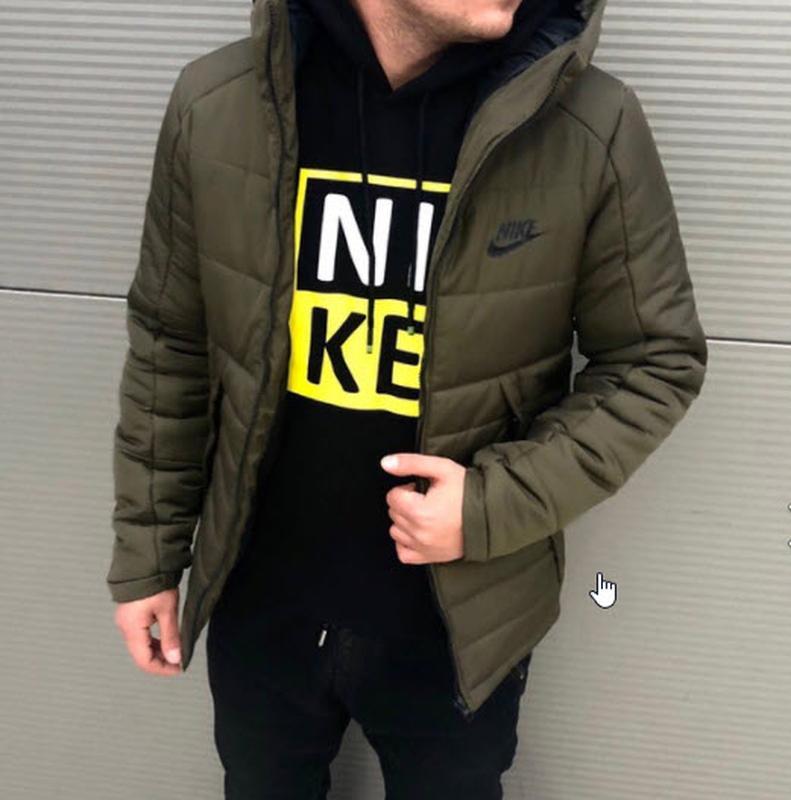 508c8856 Шикарная мужская куртка nike найк цвета хаки haki с капюшоном до -20  градусов зима1 фото ...