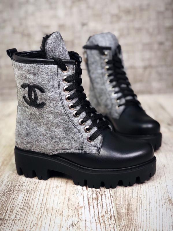 Шерстяные кожаные зимние ботинки полуботинки валенки в стиле chanel ... 6cd74c51030