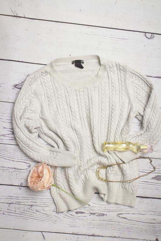 H m шерстяний сірий светр в коси з вкороченим рукавом1 ... a89d5a2b807f1