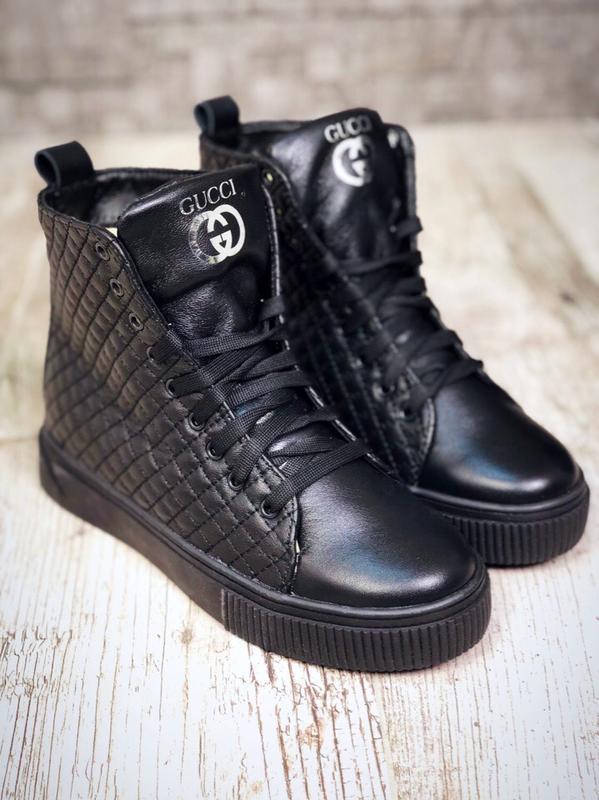 158946dcc1dc Кожаные зимние ботинки на шнурках кроссовки зимние кеды на меху в стиле  gucci.