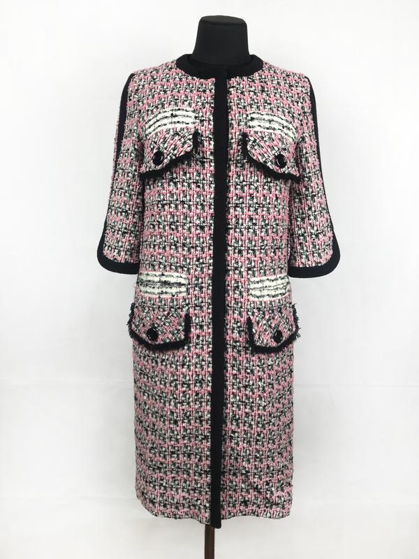 0f100ece0aa2 Стильное шерстяное пальто в стиле шанель, черно-розового цвета, цена ...