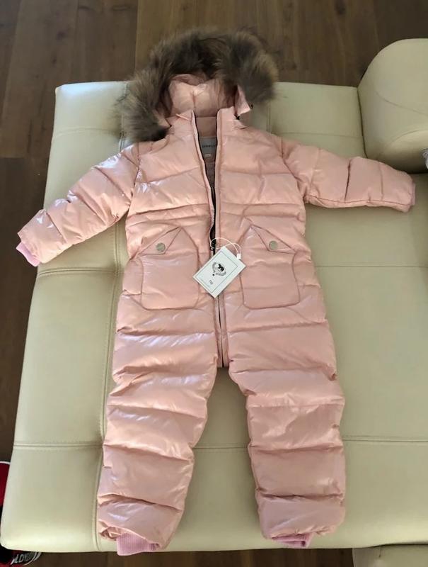 Пуховий комбінезон для дівчинки до 5 років актуального пудрового кольору1  ... c7360ff8e8dd7