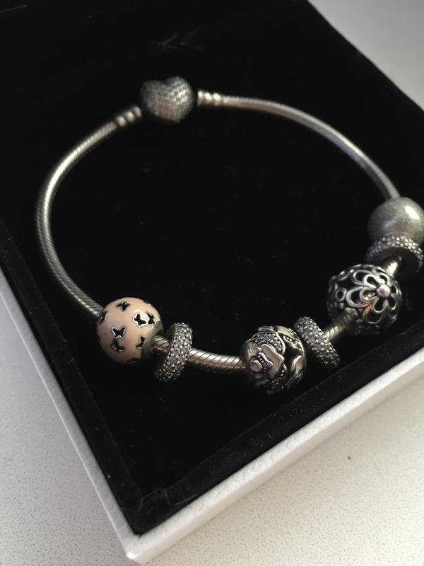 браслет Pandora пандора оригиналсердце паве с шармами и