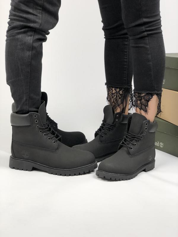 Шикарные зимние ботинки timberland black fur с мехом! унисекс (мужские и  женские размеры) ... edb76b7f65e0f