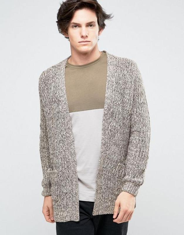 тёплый мужской вязаный кардиган меланж кофта с карманами New Look