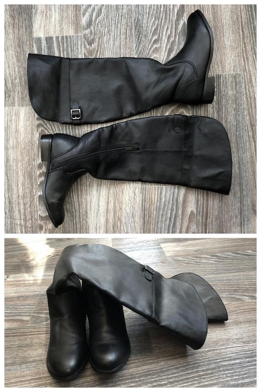 Черные эко кожаные высокие сапоги ботфорты 11e21f5fd475a