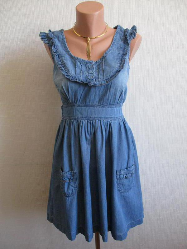 5176a303f4d6c40 Джинсовое хлопковое платье с воланами f&f F&F, цена - 245 грн ...