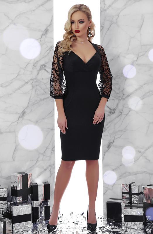 4f039421832 Нарядное вечернее платье сукня плаття футляр с декольте и кружевными  рукавами р.s-xl1 ...
