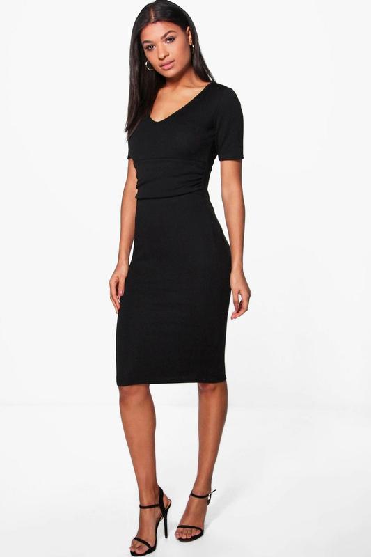 5719c622539 Новое платье миди черного цвета с драпировкой на талии boohoo Boohoo ...