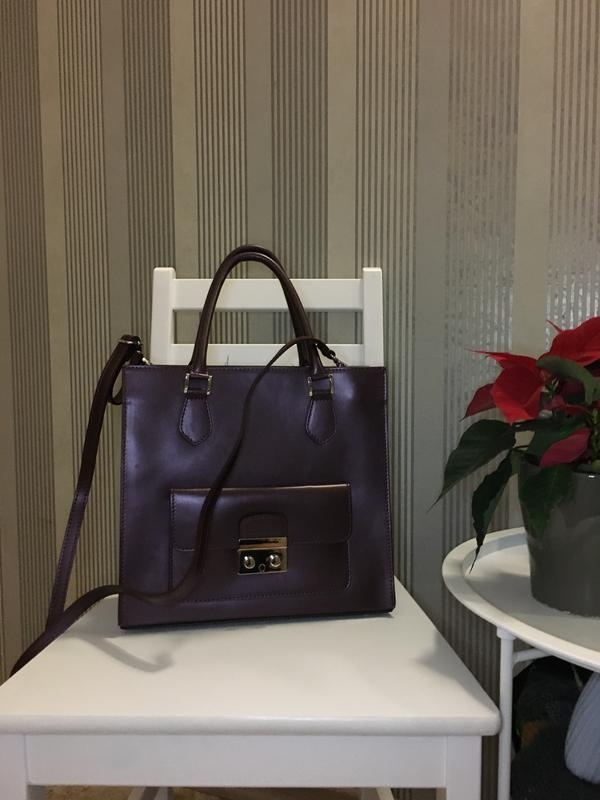 ebbe6fcc02a8 Шикарная кожаная сумка в цвете марсала made in italy, цена - 999 грн ...