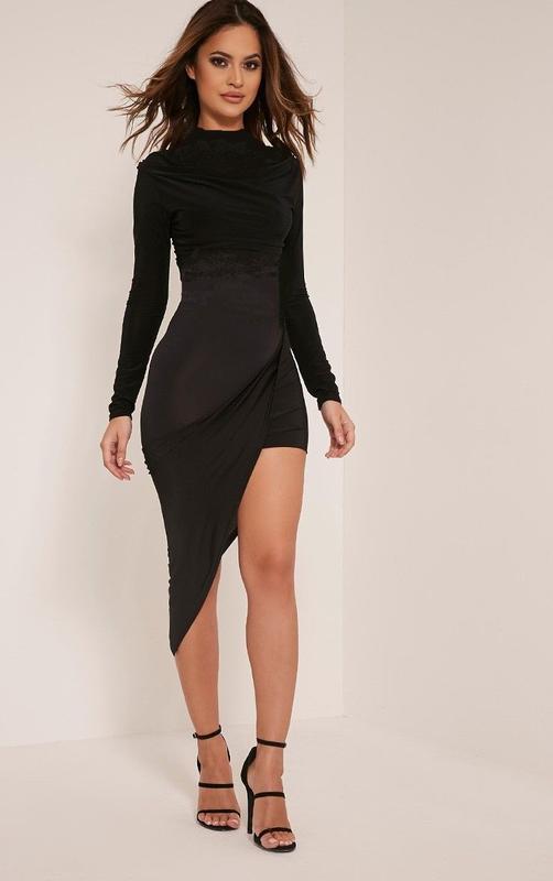 08f7d7d96d7 Обнова! платье черное ассиметричное мини миди водолазка prettylittlething1  фото ...