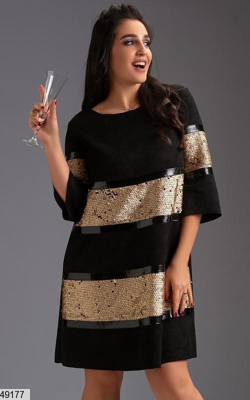 2bb9edba88afec4 Шикарное нарядное новогоднее вечернее платье замша черное/золото размеры:50-52,54,561  ...