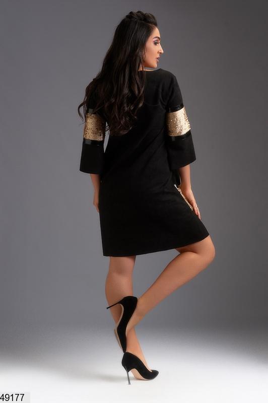 bec1152afef6741 ... Шикарное нарядное новогоднее вечернее платье замша черное/золото размеры :50-52,54,562 ...