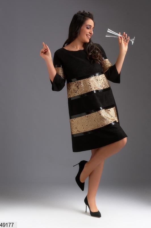 e3c587c84d96329 ... Шикарное нарядное новогоднее вечернее платье замша черное/золото размеры :50-52,54,563