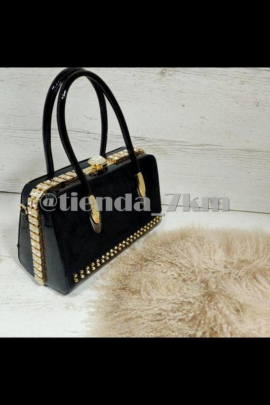 11b3628f0933 Каркасная лаковая сумка с камнями и вставкой из натуральной замши k-981  black (черная ...