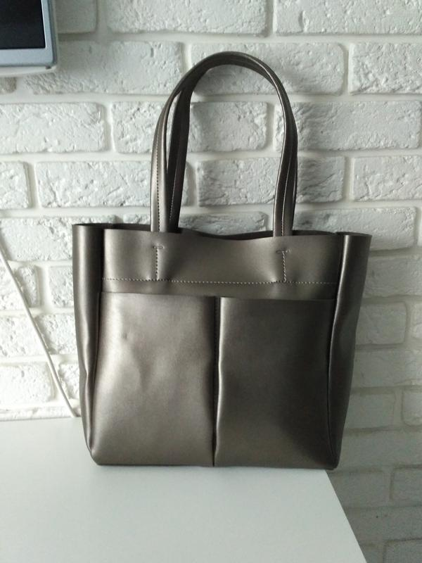 1425161ad805 Удобная сумка -шоппер на плечо, цвет серебристый металлик, цена ...