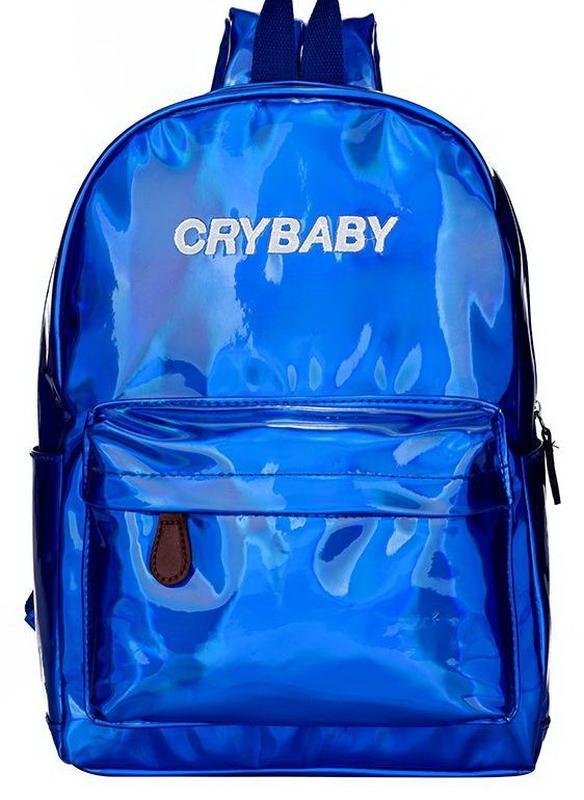 267fb4a79782 Рюкзак синий однотонный лаковый голографический crybaby принт надпись  унисекс блестящий1 фото ...