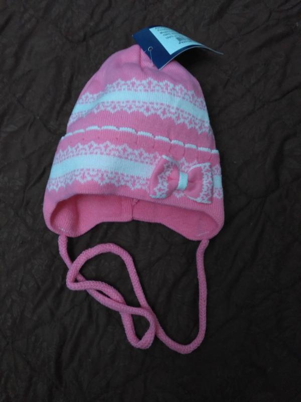 Нова шапка для дівчинки розовая завязки1 ... abeeb9fb0c8ff