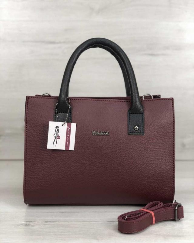 1a6ca386e125 Бордовая сумка саквояж матовая с ремешком через плечо черные вставки1 фото  ...