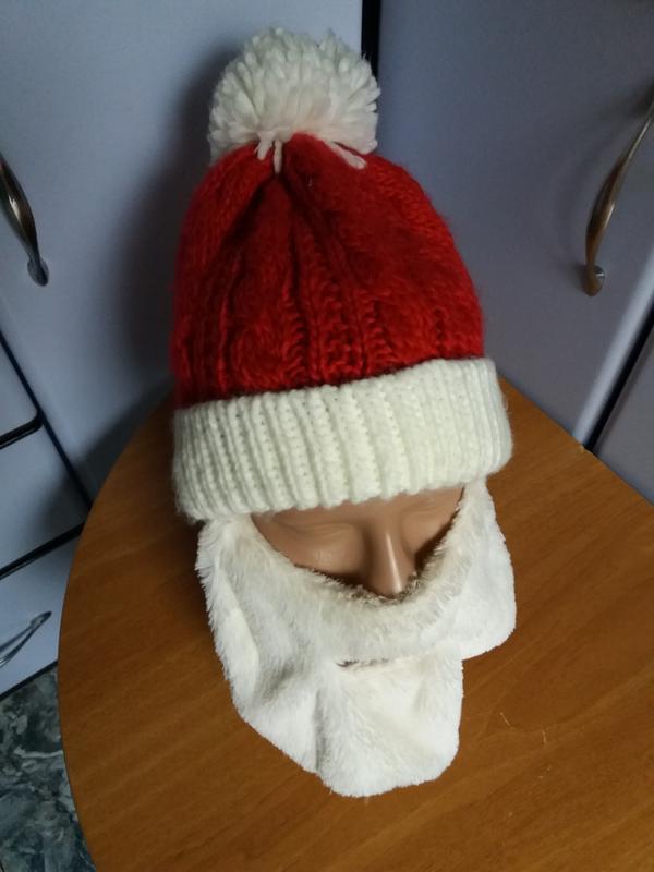 шапка деда мороза вязаная с бородой Ff цена 303 грн 18761727