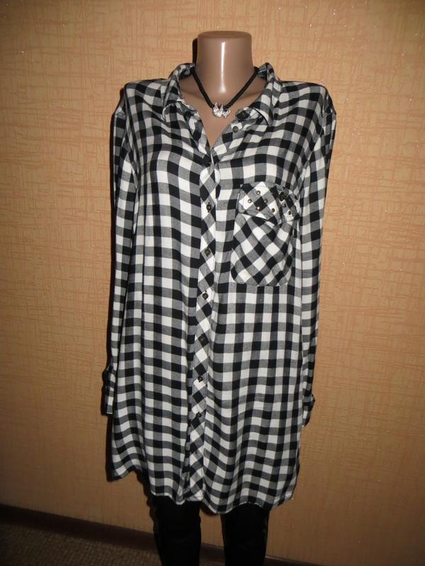 a1e9ed646ac Модная женская удлиненная рубашка с длинным рукавом в черно-белую клетку.1  фото ...