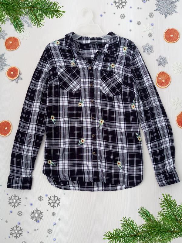 2d62ae02ce4 Трендовая рубашка в клетку с вышивкой подсолнухи от george размер s1 ...