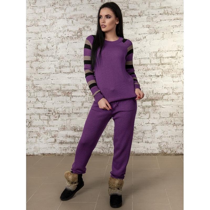 стильный вязаный спортивный костюм цвет инжир цена 655 грн